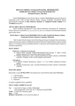 İzmir Devlet Opera ve Balesi Müdürlüğünün personel ihtiyacını