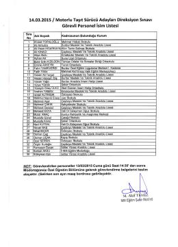 14.03.2015 / Motorlu Taşıt Sürücü Adayları Direksiyon Sınavı