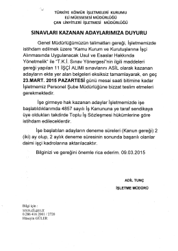 sınavı kazanan adaylar için ek duyuru09.03.2015