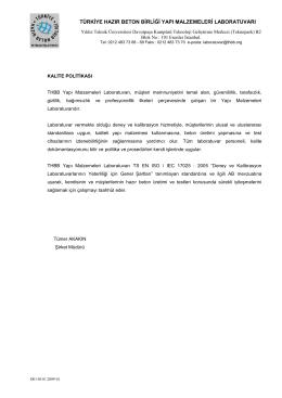 Kalite Politikası - Türkiye Hazır Beton Birliği