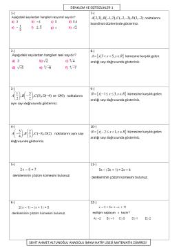 Page 1 1-) 7-) ( ) ( ) 2,3 , 1,2 , ( 2, 3), (3, 2) A B C D - - -