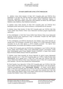 1-anma program - Diyarbakır İl Milli Eğitim Müdürlüğü