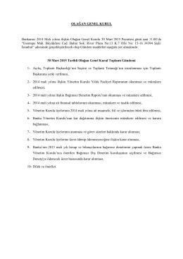 30.03.2015 Tarihli Rabobank AŞ Olağan Genel Kuruluna İliskin
