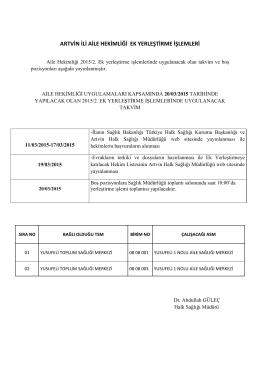 (5) 2015-2, ek yerleştirme takvim