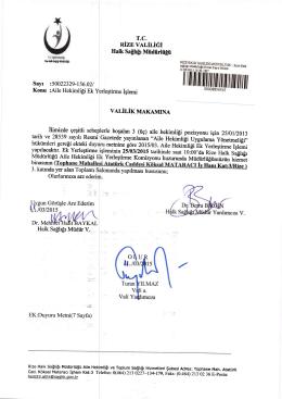 Valilik Oluru (İndir) - TC Rize Halk Sağlığı Müdürlüğü
