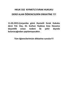 HKUK 332 KIYMETLİ EVRAK HUKUKU DERSİ ALAN