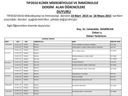 TIP2010 Klinik Mikrobiyoloji ve İmminoloji Dersinin Alan Öğrencilere