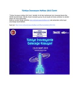 Türkiye İnovasyon Haftası 2015 İzmir