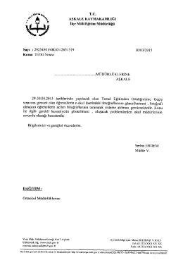 TEOG Sınavı - erzurum - aşkale ilçe millî eğitim müdürlüğü