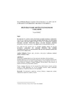 dilin işlevleri: metin eylem kuramı yaklaşımı