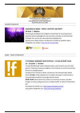 AVUSTRALYA GÜNÜ - TRIPLE J HOTTEST 100 PARTY 26 Ocak