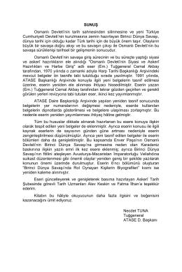 SUNUŞ Osmanlı Devleti`nin tarih sahnesinden silinmesine ve