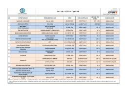 2015 yılı eğitim takvimi