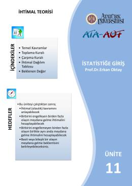 İhtimal Teorisi - Lms - Atatürk Üniversitesi