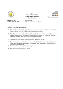 T.C. DİCLE ÜNİVERSİTESİ Ziraat Fakültesi Dekanlığı Görev