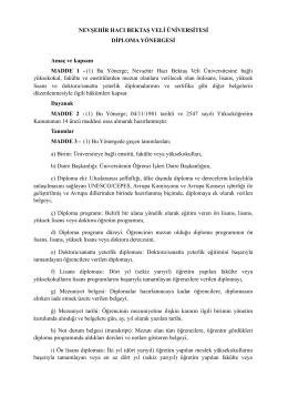 Diploma Yönergesi - Nevşehir Hacı Bektaş Veli Üniversitesi