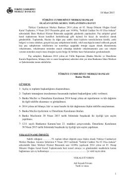 Türkiye Cumhuriyet Merkez Bankası Olağan Genel Kurul