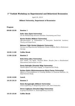 1st Turkish Workshop on Experimental and