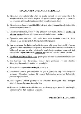sınavlarda uyulacak kurallar