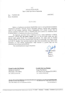 DUYURU - İdari ve Mali İşler Dairesi Başkanlığı