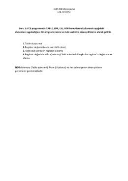 Soru 1: CCS programında TABLE, LDR, LSL, ADR komutlarını