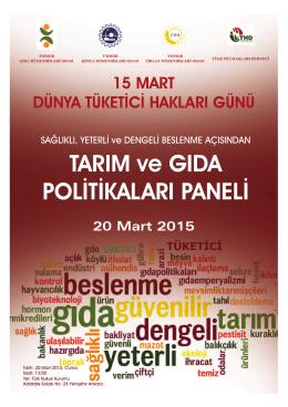20 Mart 2015 tarihinde Tarım ve Gıda Politikaları Paneli