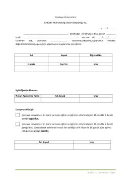 Sınav/Ödev/Proje Notuna İtiraz ve Yeniden Değerlendirme Talebi