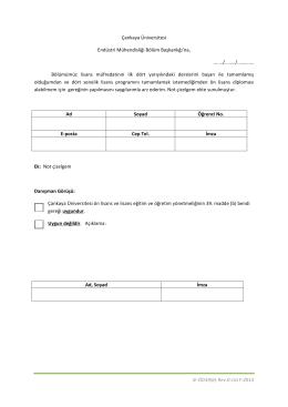Ön Lisans Diploması Talebi Dilekçesi