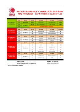 25-30 Mart Maç Programı.pdf - Antalya Gençlik ve Spor İl Müdürlüğü