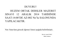HUZEM ORTAK DERSLER MAZERET SINAVI 12 ARALIK 2014