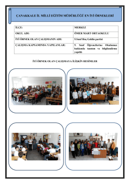 5. Sınıf Hoş Geldin Partisi Projesi - Çanakkale İl Milli Eğitim Müdürlüğü