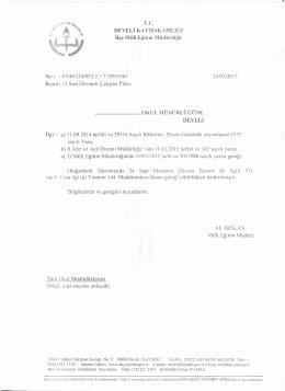 T.C. DEVELİ KAYMAKAMLIĞI İlçe Millî Eğitim Müdürlüğü OKUL