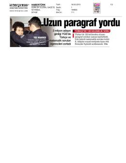 Habertürk Gazetesinde YGS Yorumları