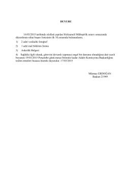 DUYURU 16/03/2015 tarihinde sözlüsü yapılan Sözleşmeli