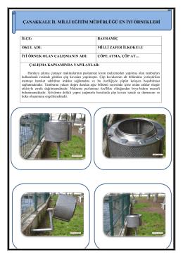 Çöpe Atma, Çöp At Projesi - Çanakkale İl Milli Eğitim Müdürlüğü