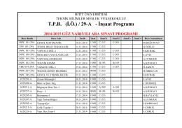 T.P.B. (İ.Ö.) / 29-A - İnşaat Programı