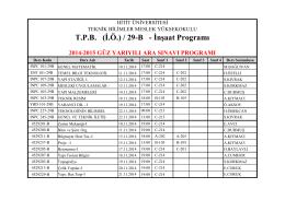 T.P.B. (İ.Ö.) / 29-B - İnşaat Programı