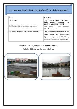 Okul Bahçe ve Spor Sahasının Düzenlenmesi Projesi