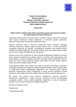 27.03.2015 Yönetim Kurulu Başkanı Hüseyin Aydın`ın Moody`s