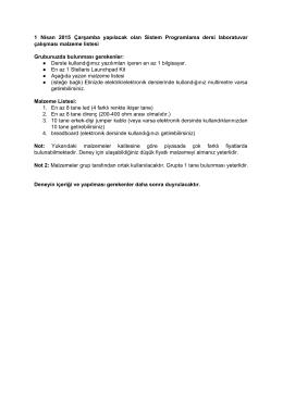 1 Nisan 2015 Çarşamba yapılacak olan Sistem Programlama dersi