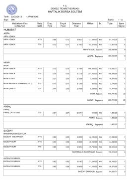 27 Mart Haftalık Bülten - Denizli Ticaret Borsası