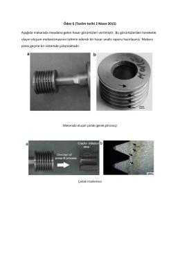 Ödev 6 (Teslim tarihi 2 Nisan 2015) Aşağıda makarada meydana