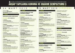 sempozyum programı pdf - İstanbul Büyükşehir Belediyesi