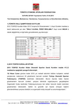 Duyuru 2015/01 - Türkiye Otomobil Sporları Federasyonu