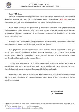 TC ÇANKAYA KAYMAKAMLIĞI Ankara Üniversitesi Geliştirme Vakfı