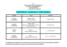 2014-2015 Akademik Yılı Bahar Dönemi 1.ARA SINAV TAKVİMİ