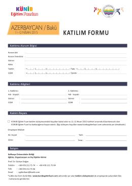 katılım formu - Künib Eğitim Fuarı