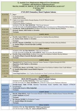 ekoloji sempozyumu 2010 5-7 mayıs, aksaray üniversitesi, aksaray