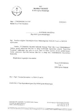 İl Milli Eğitim Müdürlüğü 23/03/2015 tarih 3141397 sayılı Kısa Film