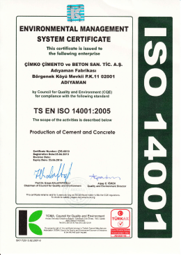 envi ronmental managem ent system certificate